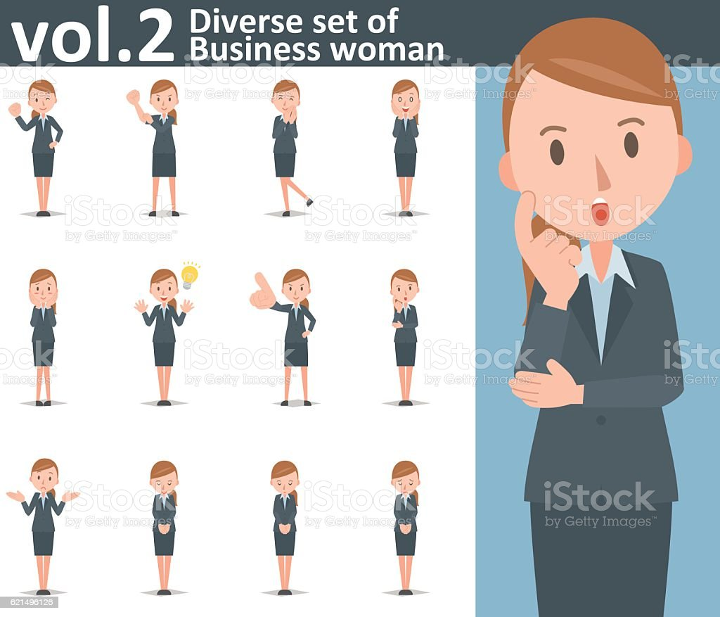 Diverse set of business woman on white background vol.2 vector art illustration