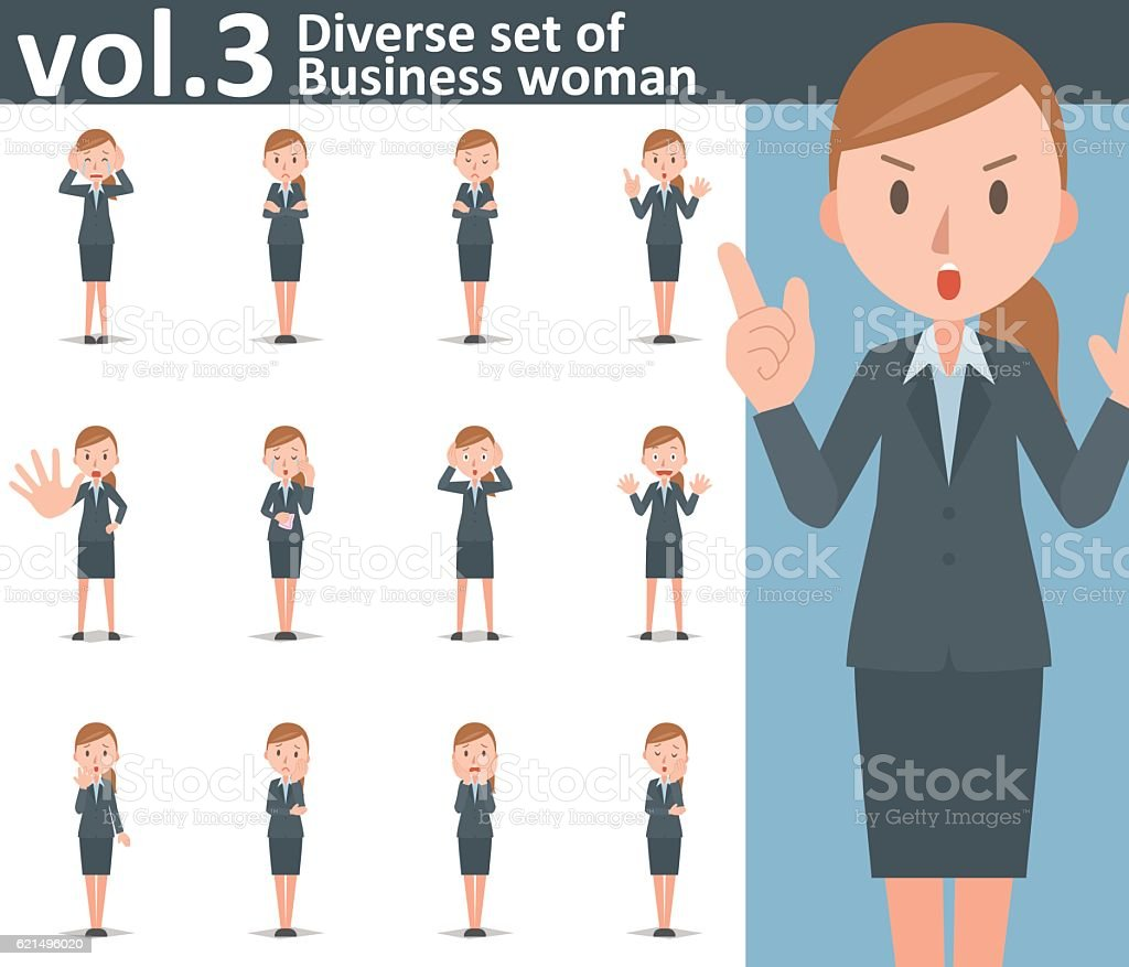 Diverse set of business woman on white background vol.3 vector art illustration