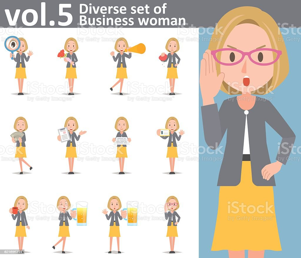 Diverse set of Business woman on white background vol.5 vector art illustration
