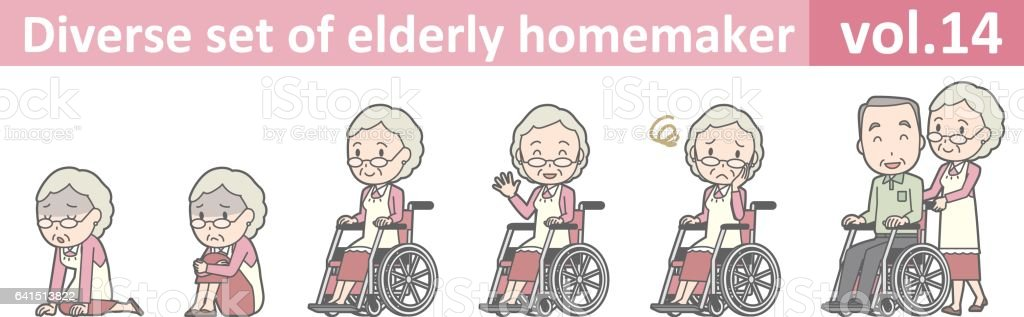 Diverse set of elderly homemaker, EPS10 vol.14 vector art illustration