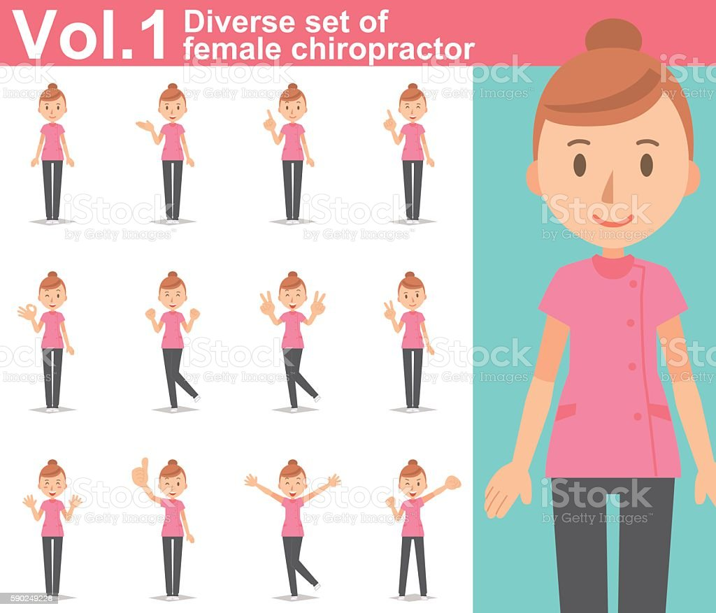 Diverse set of female chiropractor on white background  vol.1 vector art illustration