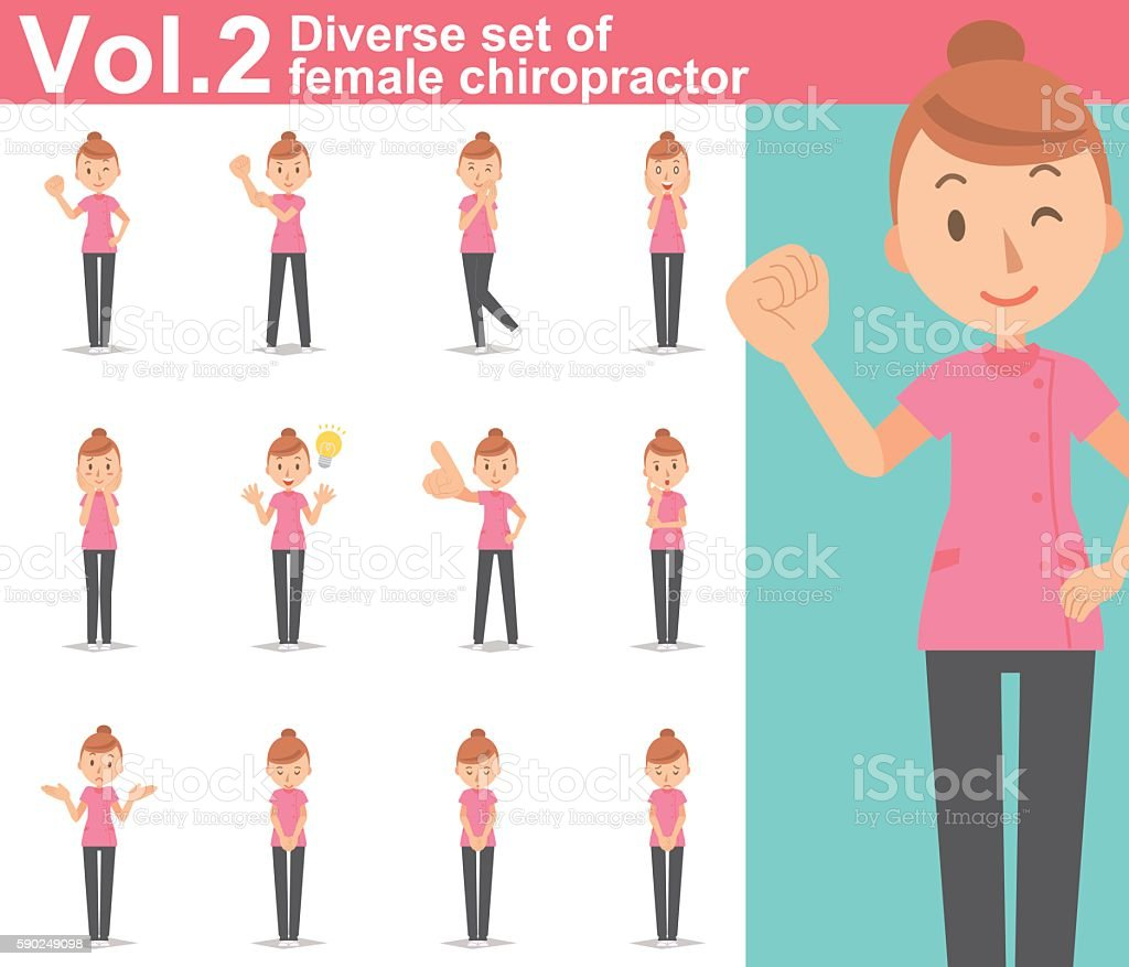 Diverse set of female chiropractor on white background vol.2 vector art illustration