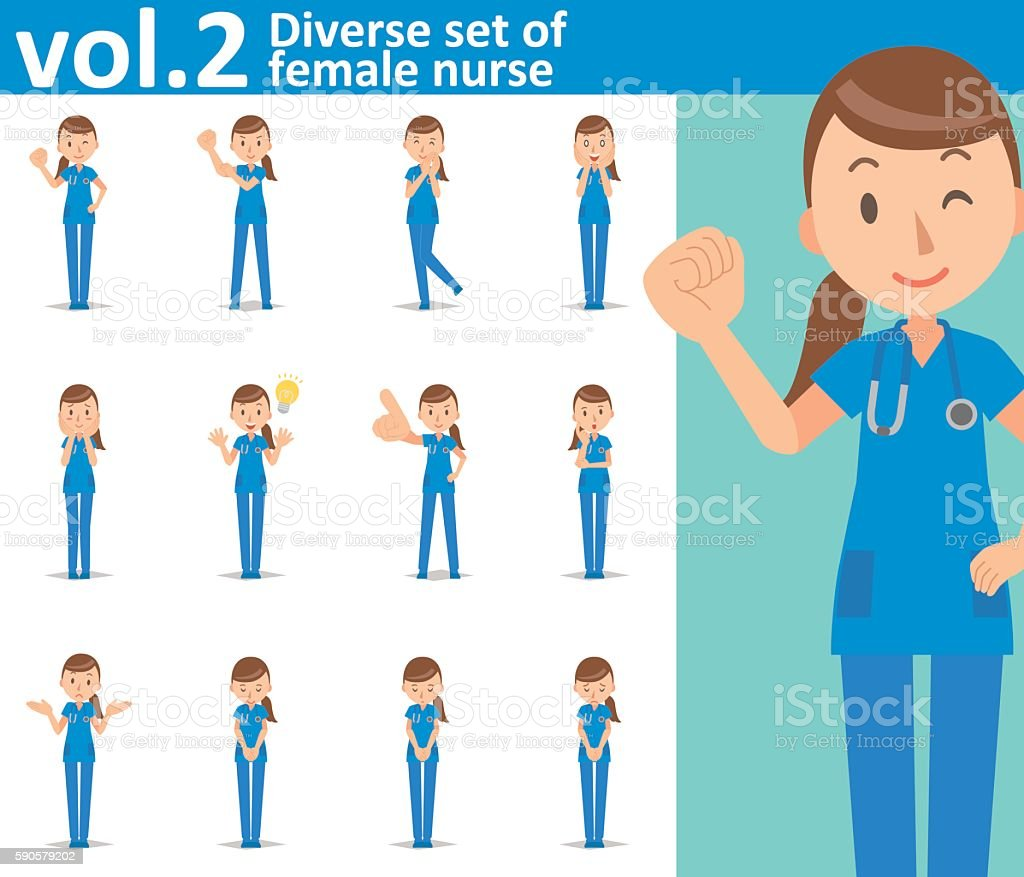 Diverse set of female nurse on white background vol.2 vector art illustration