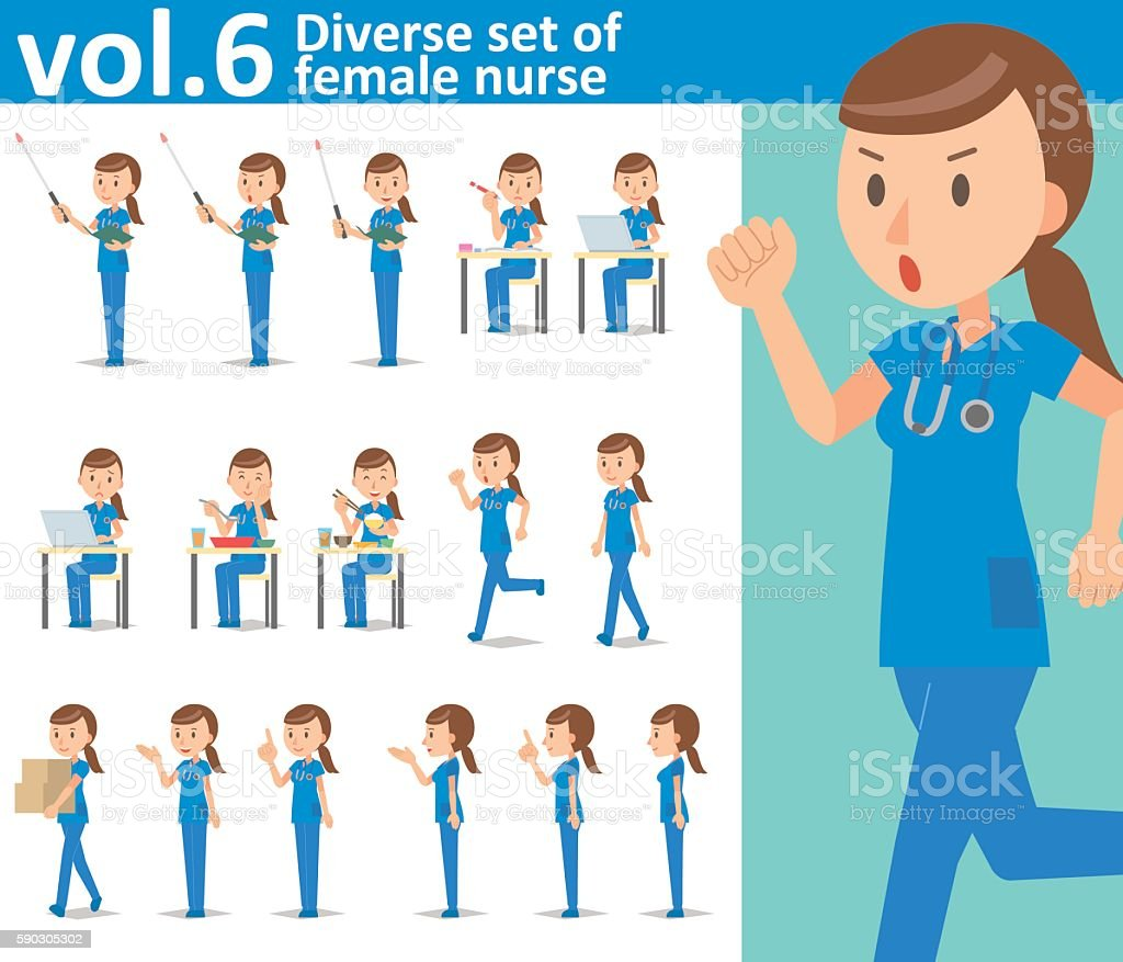 Diverse set of female nurse on white background  vol.6 vector art illustration