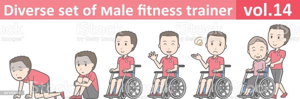 Diverse set of male fitness trainer, EPS10 vol.14 vector art illustration