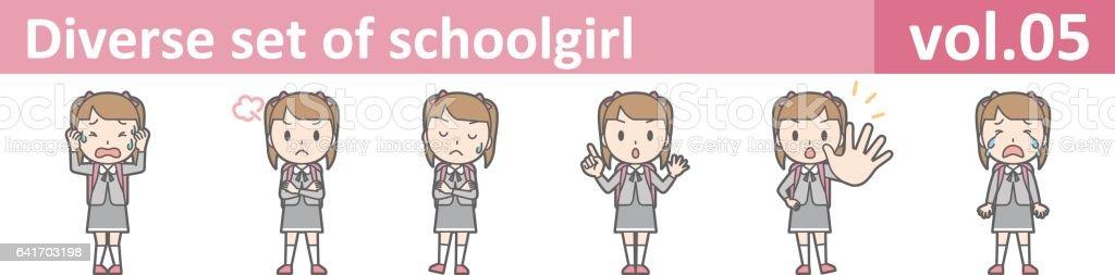 Diverse set of schoolgirl, EPS10 vol.05 vector art illustration