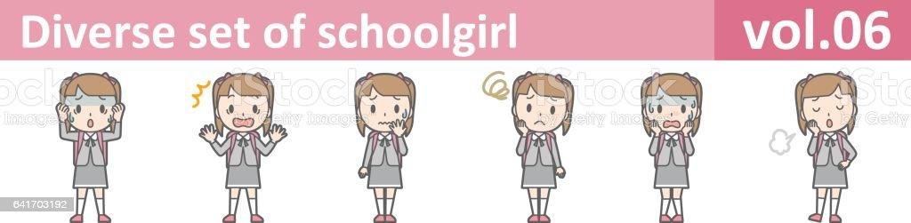 Diverse set of schoolgirl, EPS10 vol.06 vector art illustration