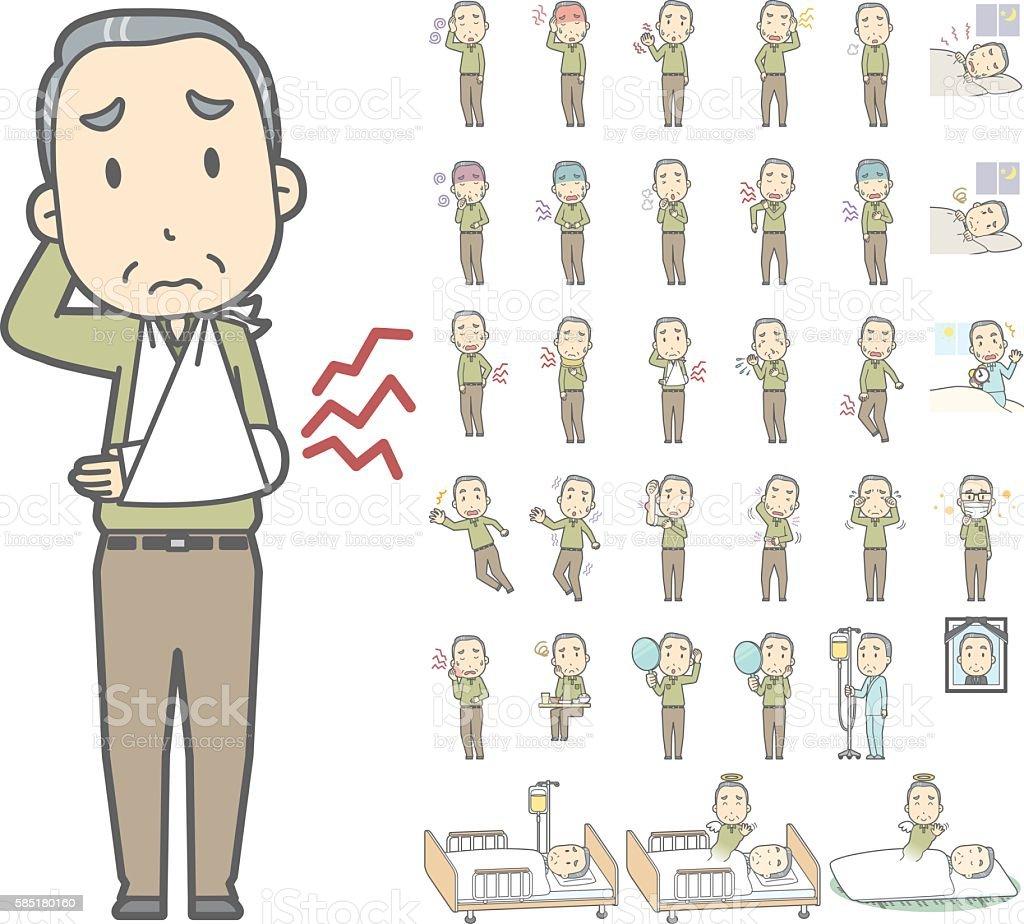 Diverse set of the elderly man of gray hair vol.3 vector art illustration