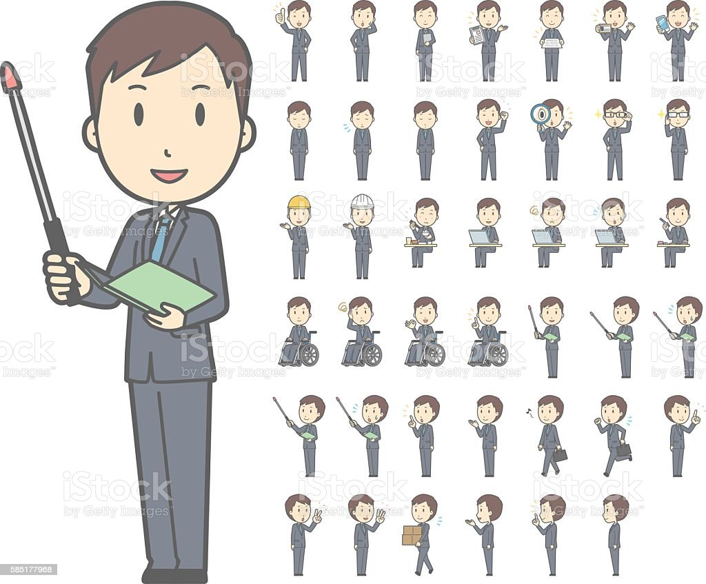 Diverse set of Young man wearing a suit vol.2 vector art illustration