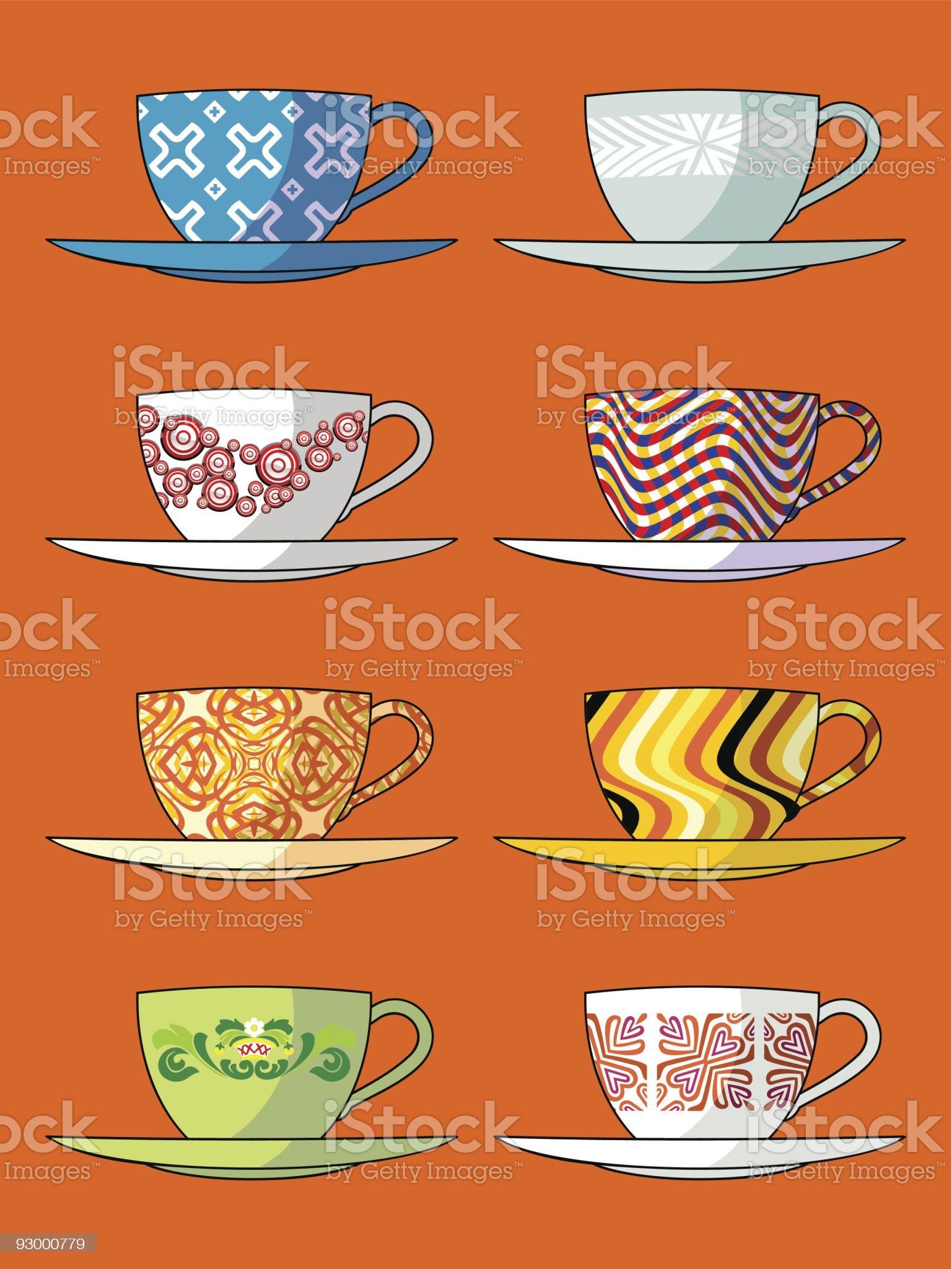 diversidad de tazas royalty-free stock vector art