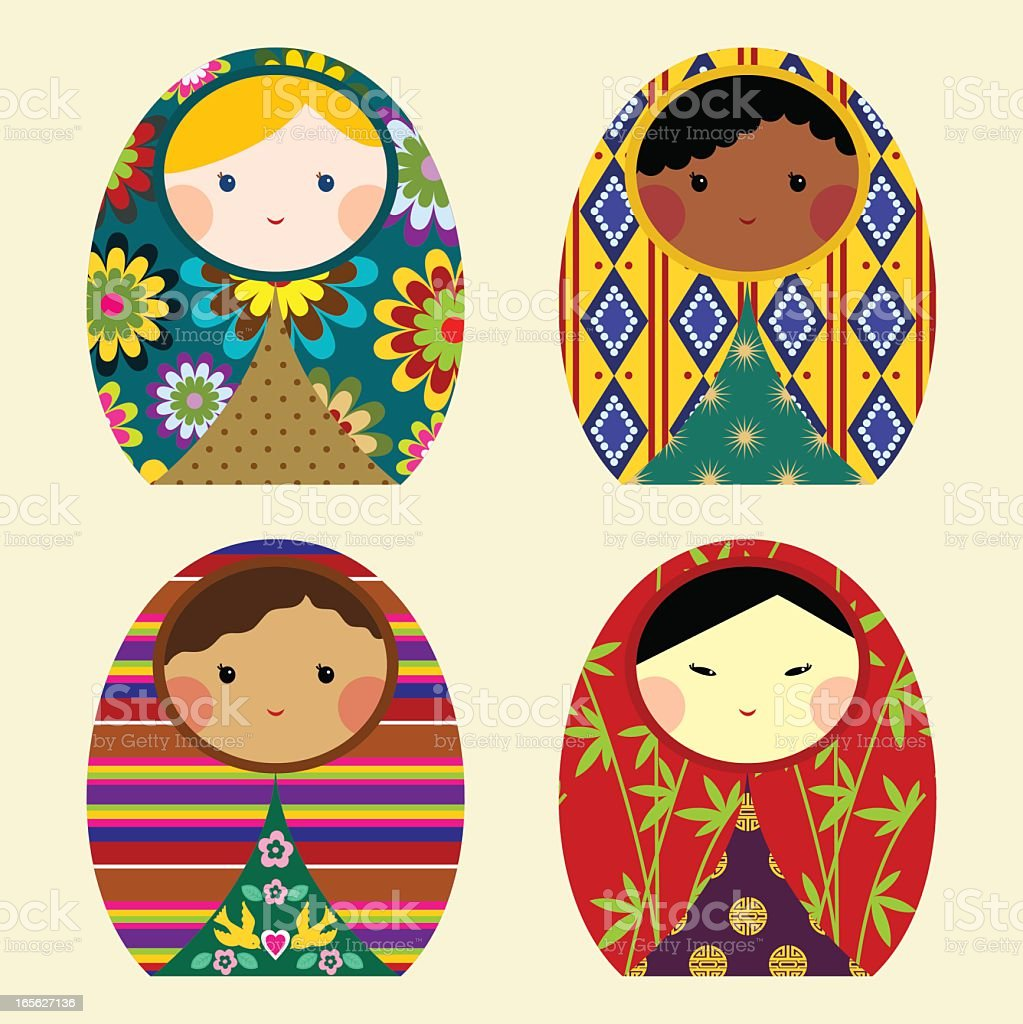 Diversity dolls vector art illustration