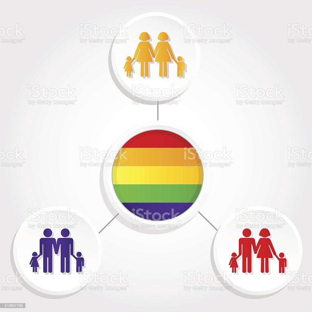 Diversity family vector art illustration
