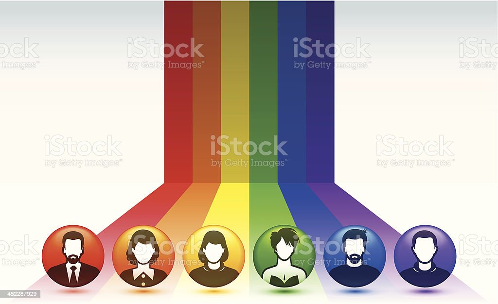Diversity, Light Spectrum and Button People vector art illustration