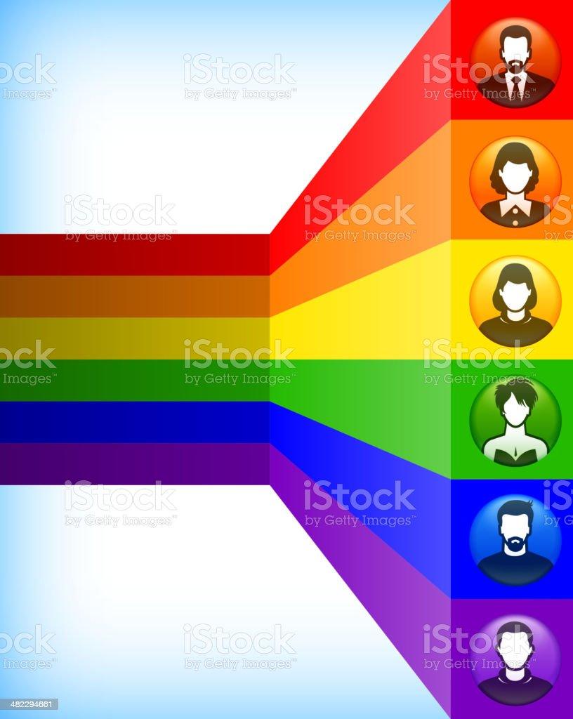 Diversity, Light Spectrum and Button People vector art illustration
