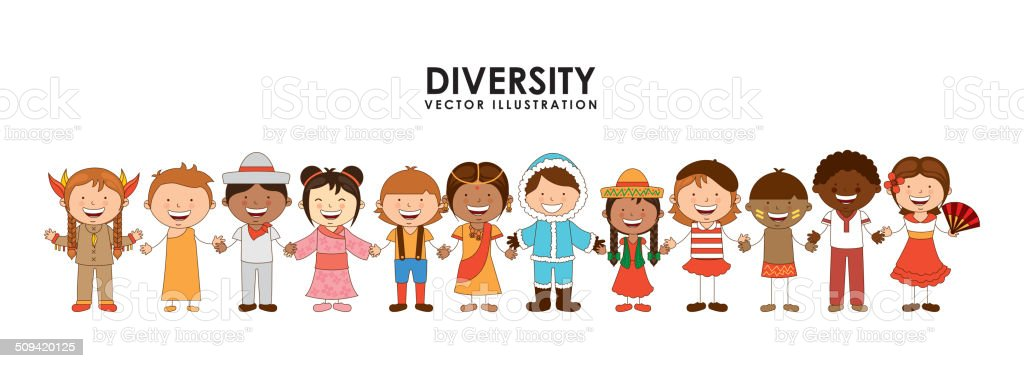 diversity of races vector art illustration