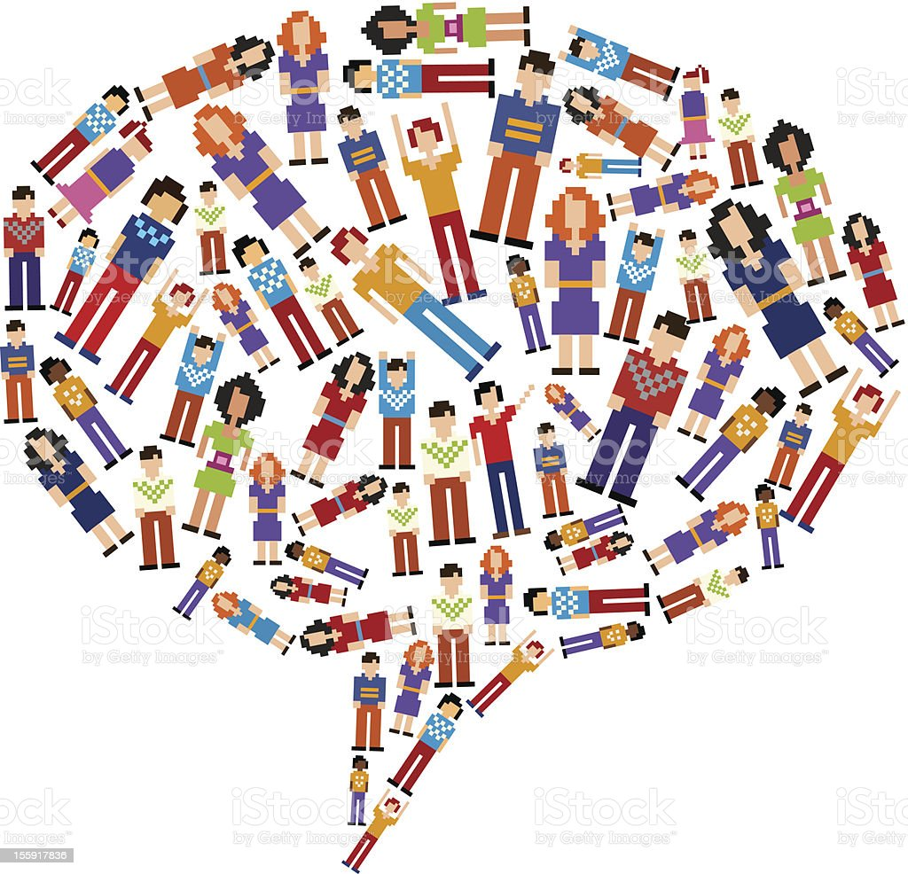 Diversity tech people social media bubble royalty-free stock vector art