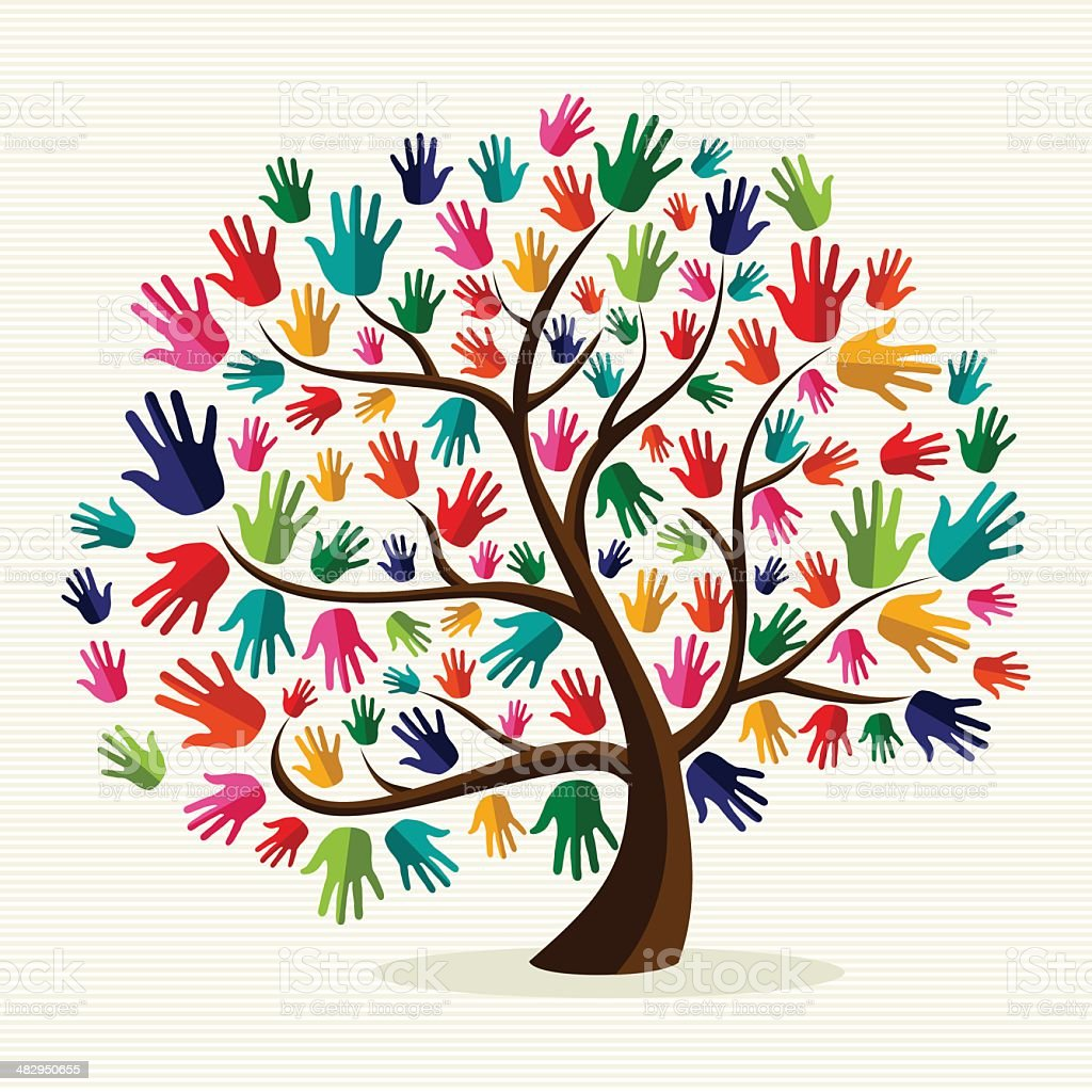 Diversity tree hands illustration vector art illustration