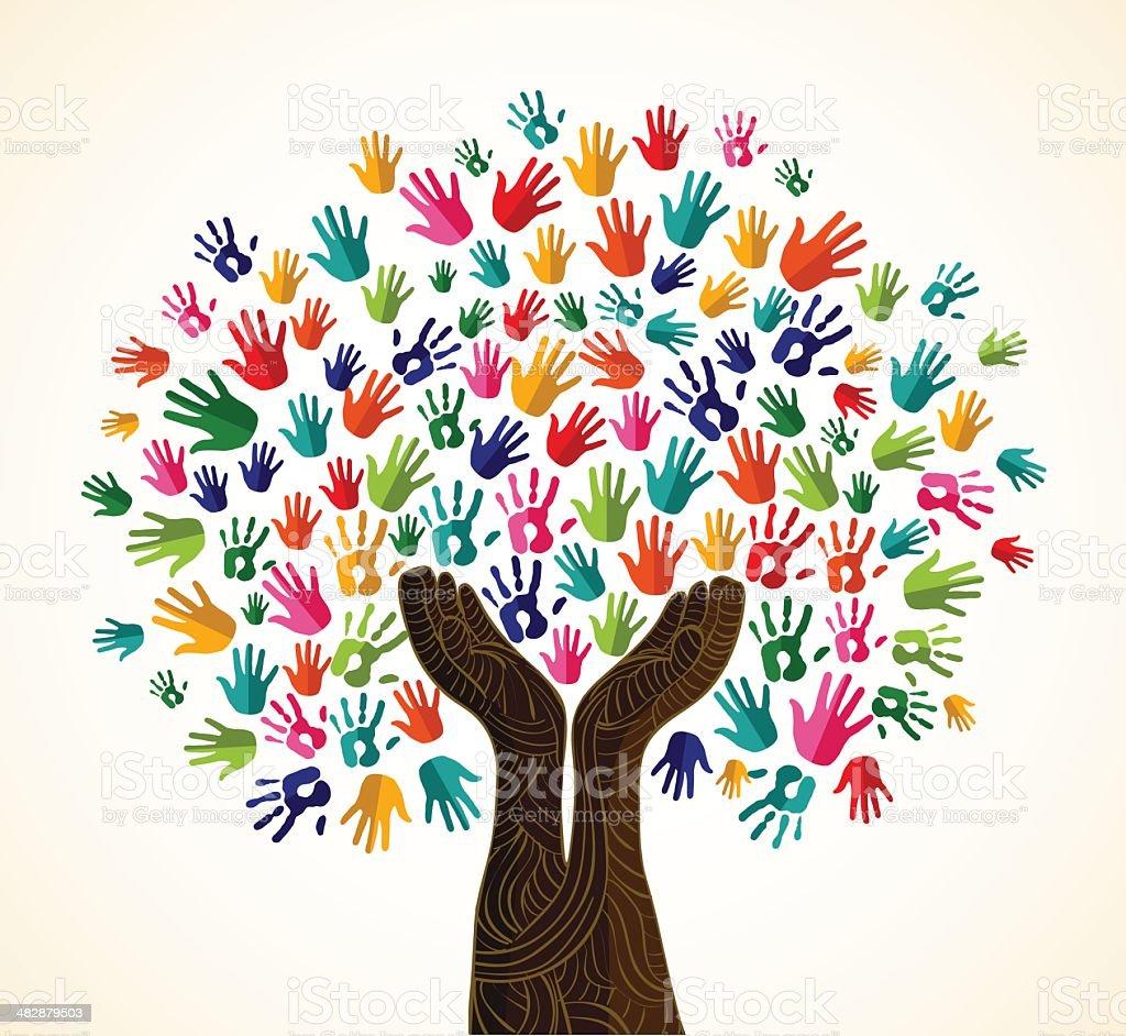 Diversity tree wooden hands vector art illustration