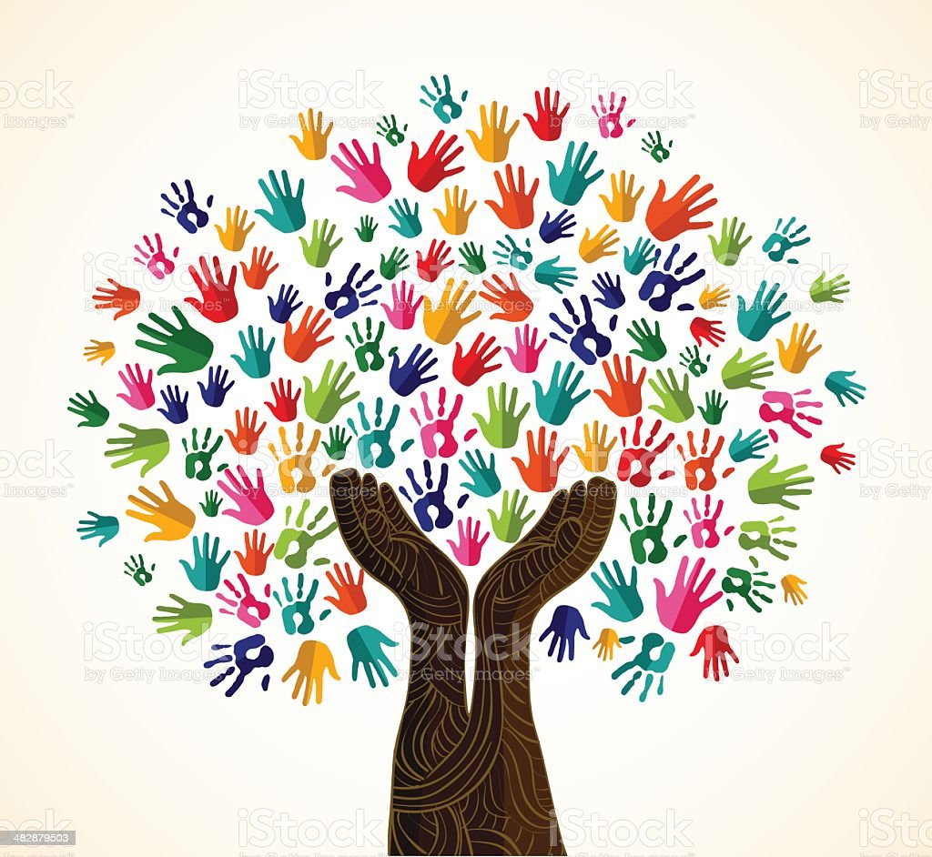 Diversity tree wooden hands vector art illustration