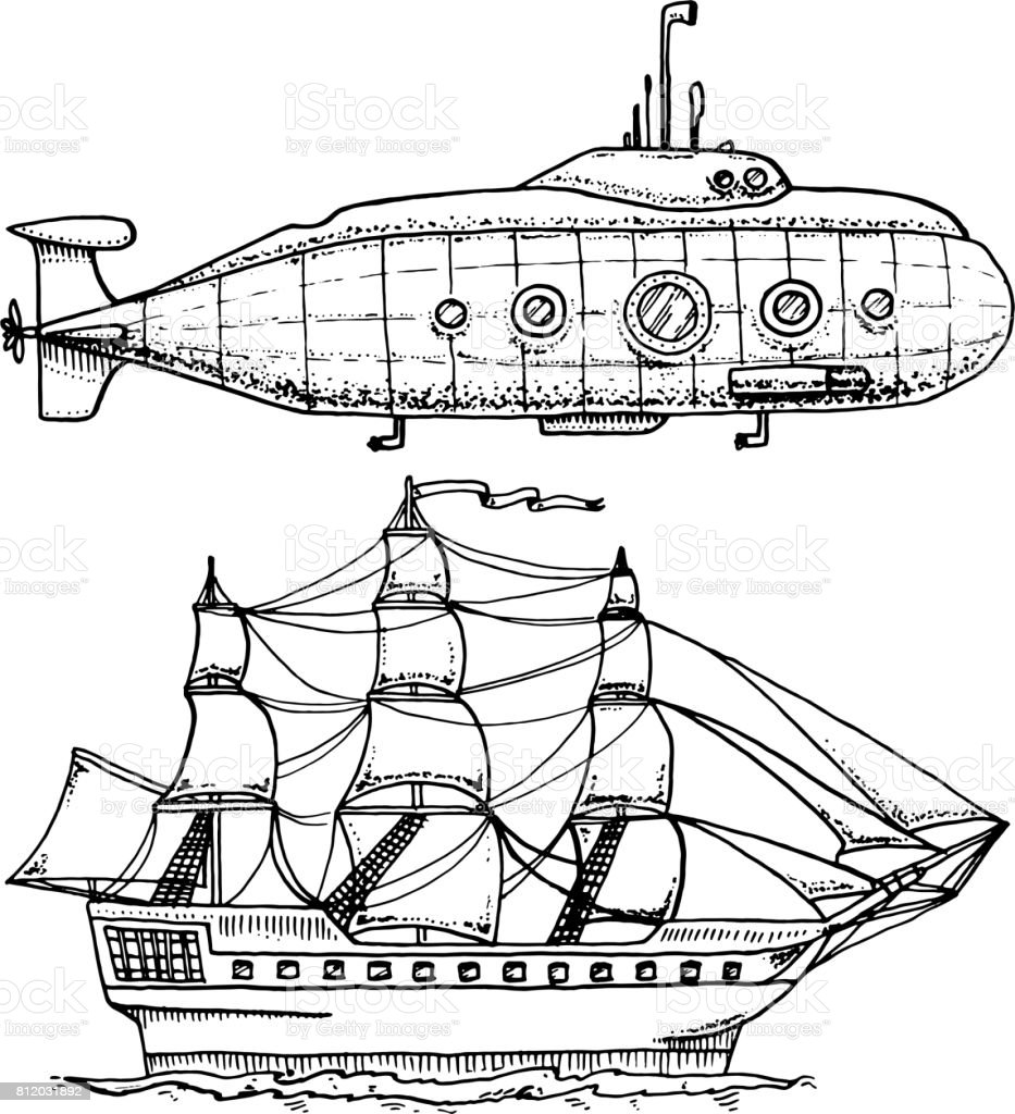 dives from Military Submarine or underwater boat with periscope to deep sea. cruise ship or Sailboat illustration. engraved hand drawn in old sketch style, vintage transport vector art illustration
