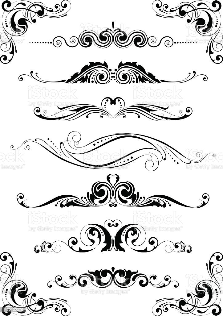 Divider ornament set vector art illustration