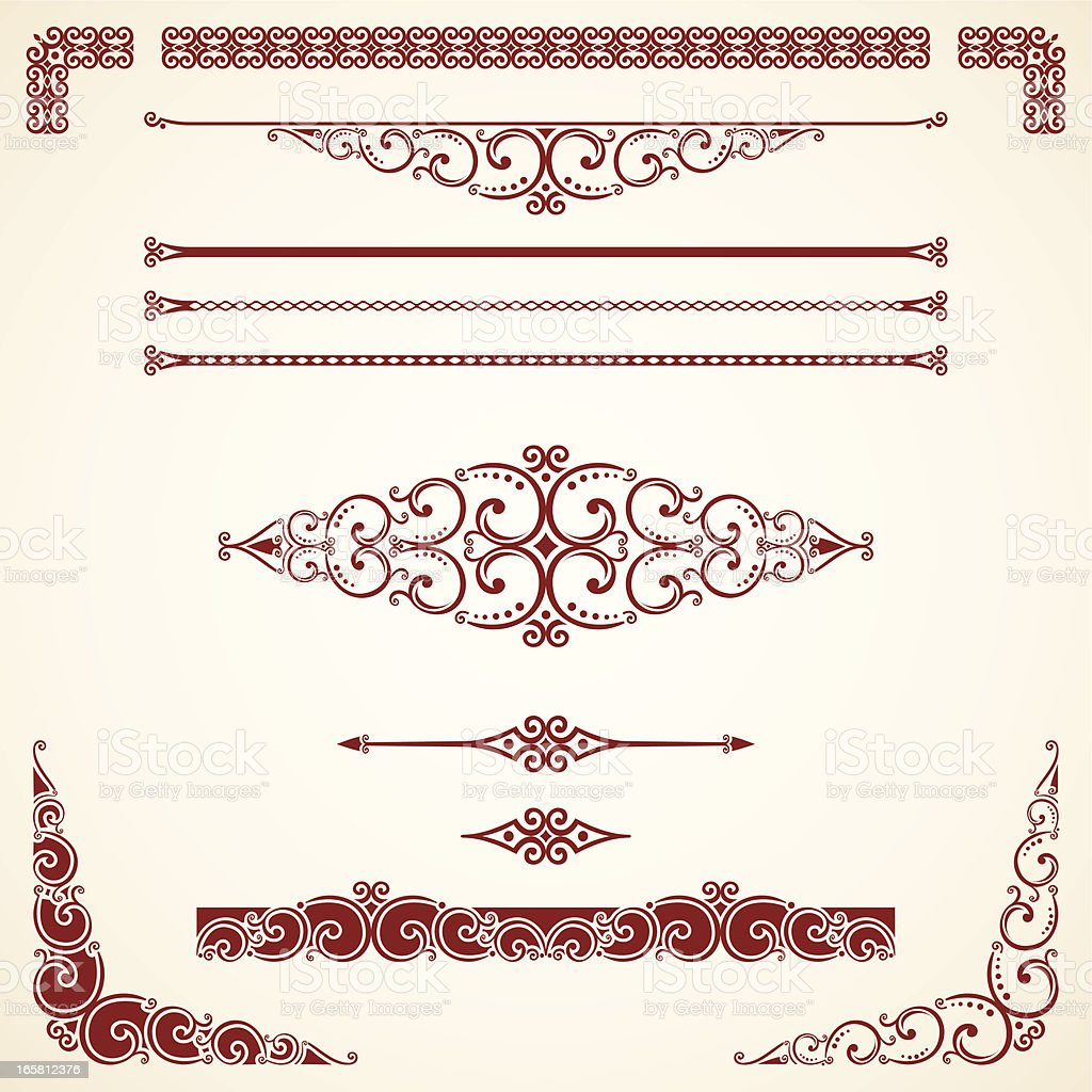 Dividers, Ornate Scrolls and Corners royalty-free stock vector art