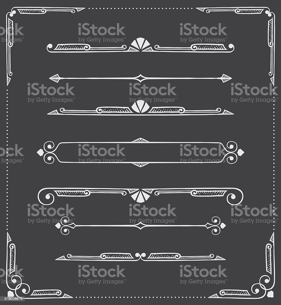 Dividers, Scrolls and Corners - Hand Drawn vector art illustration