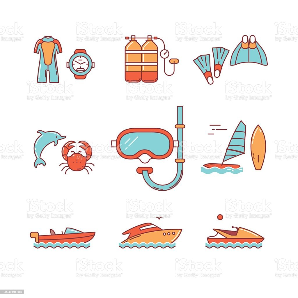 Diving and freediving equipment, boats vector art illustration