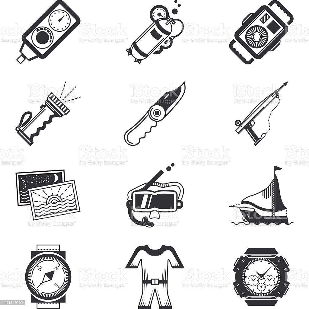Diving black vector icons vector art illustration