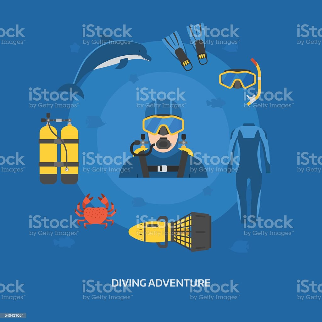 Diving Concept with Diver Man vector art illustration