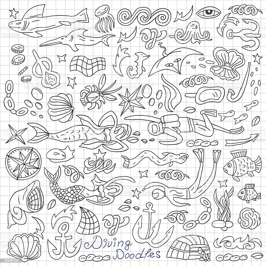 diving doodles royalty-free stock vector art