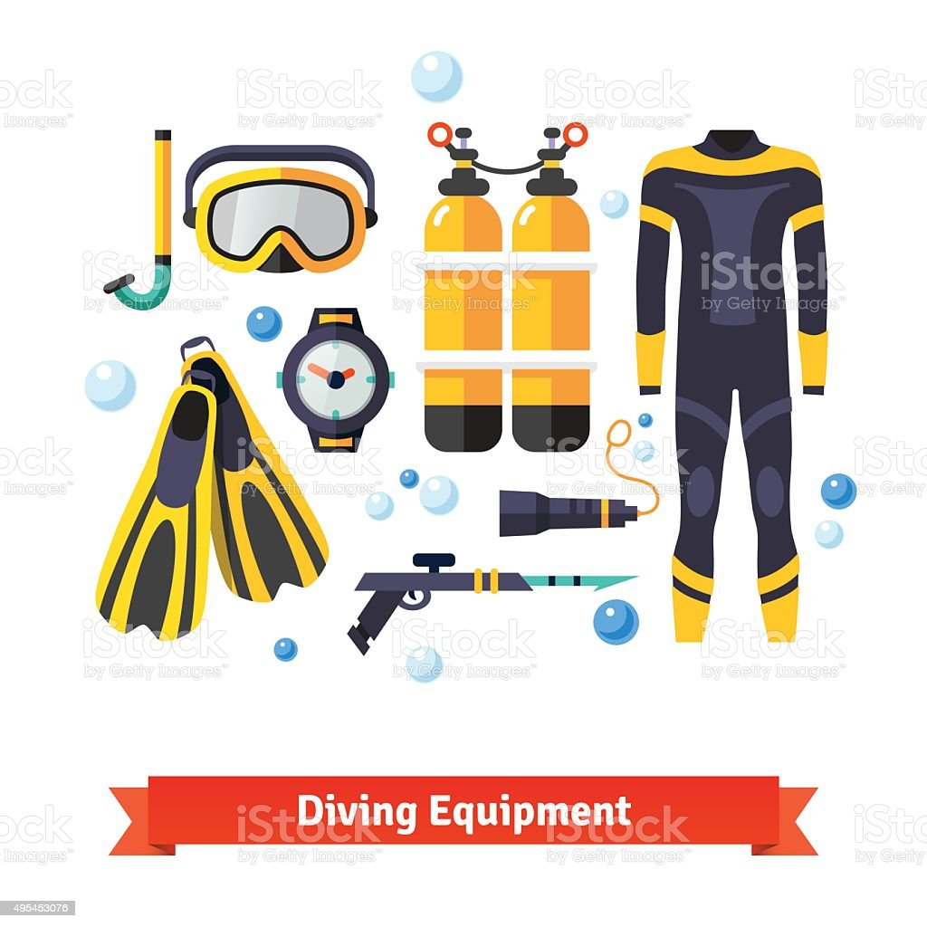 Diving equipment icons set vector art illustration