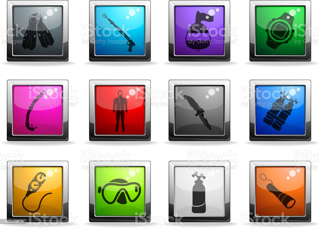 Diving icon set royalty-free stock vector art