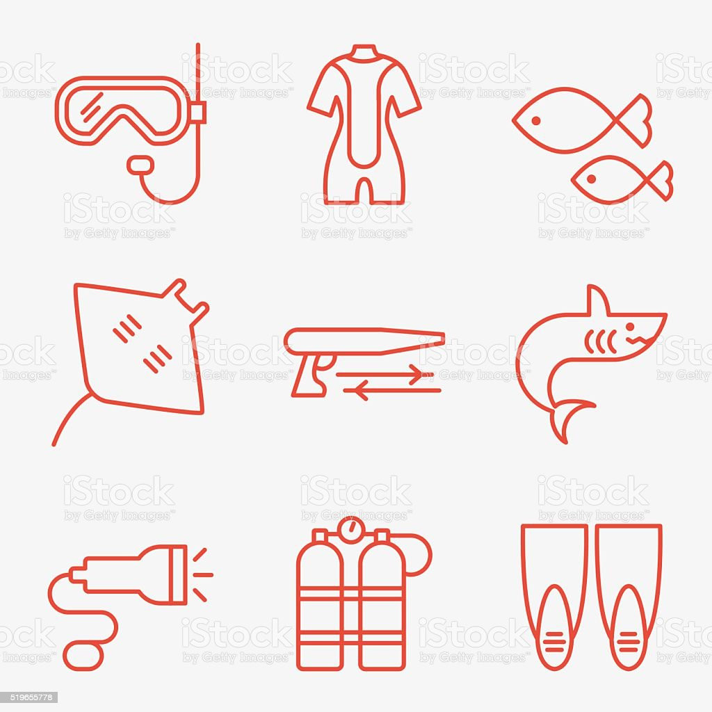 Diving icons vector art illustration