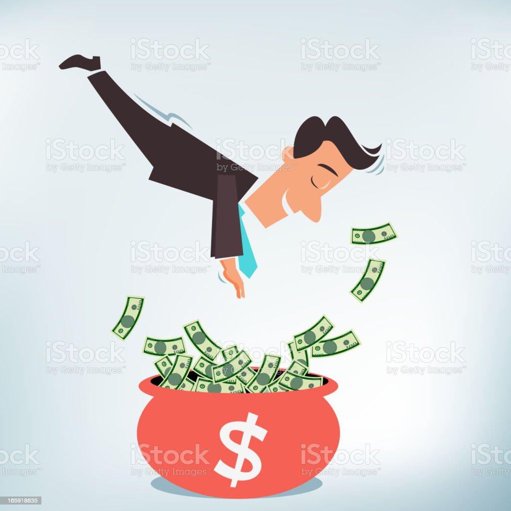Diving into a Pot of Money royalty-free stock vector art