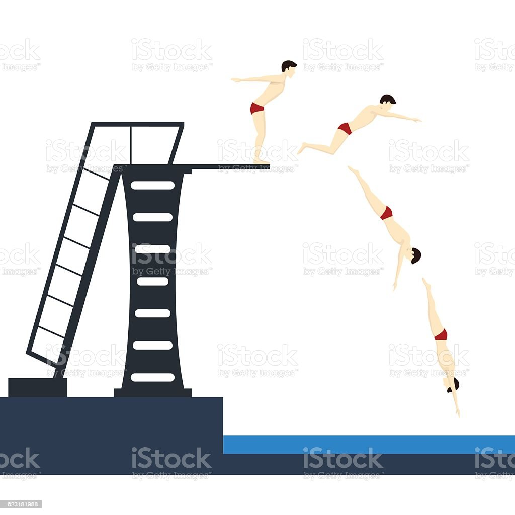 Diving into Pool Phases Jumping. Vector vector art illustration