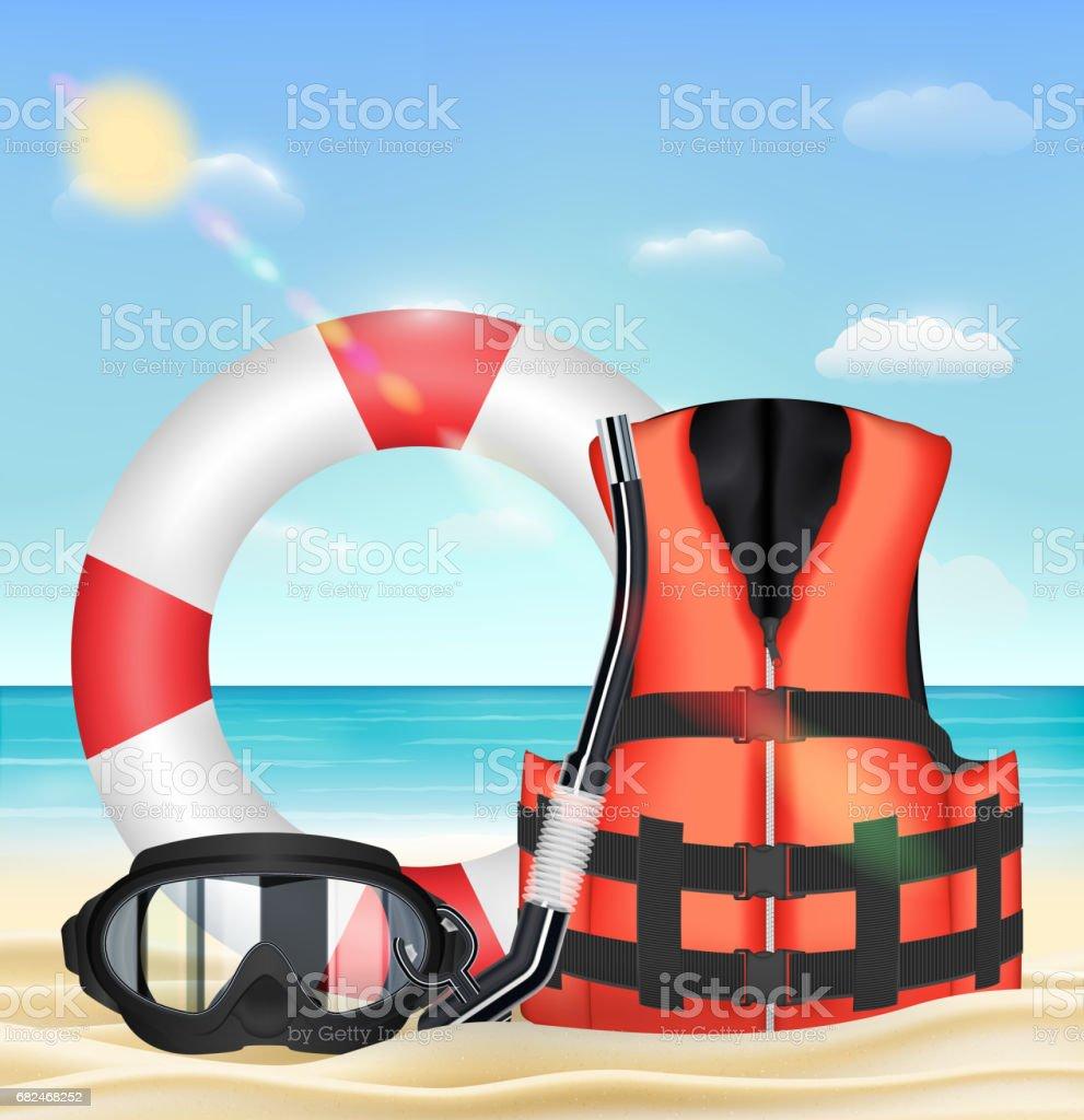 diving mask snorkel life vest and safety torus vector art illustration