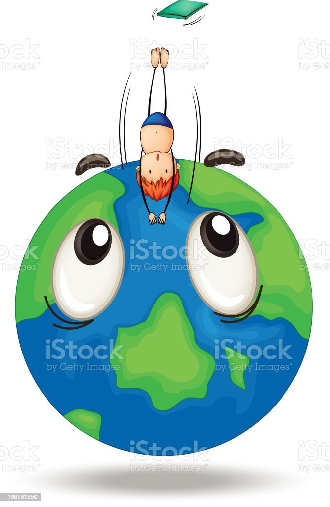 Diving on earth globe royalty-free stock vector art