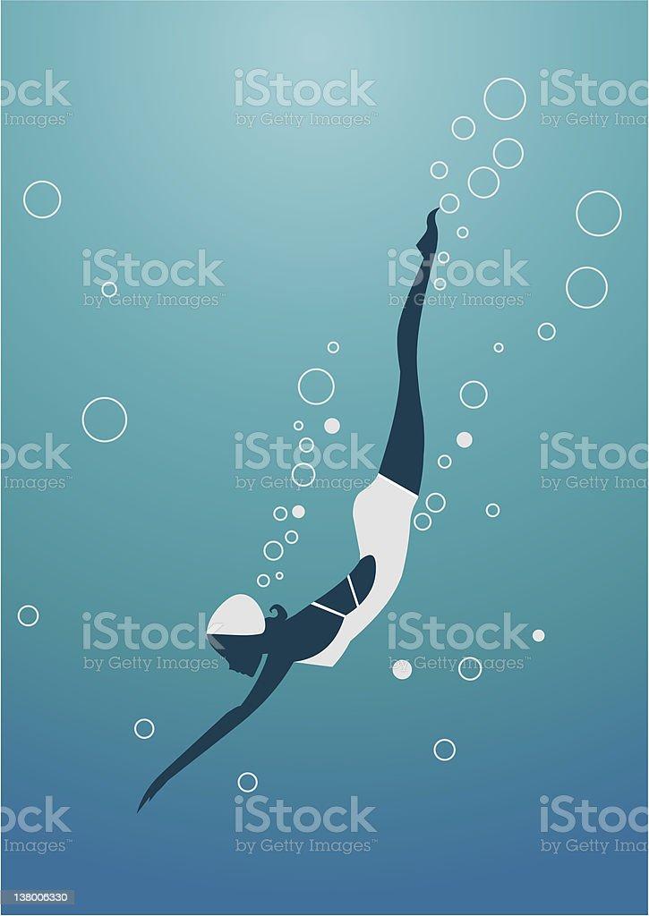Diving woman silhouette vector art illustration