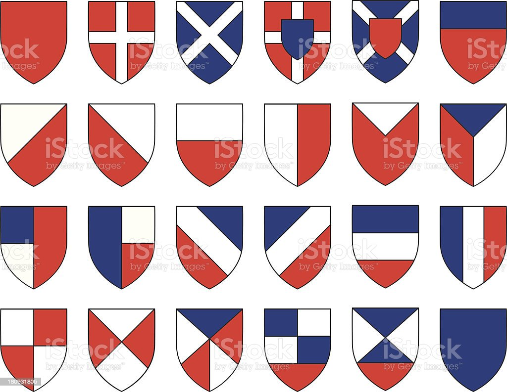divisions of the shield royalty-free stock vector art