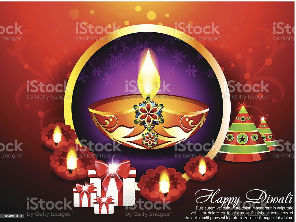 Diwali Background with gifts royalty-free stock vector art