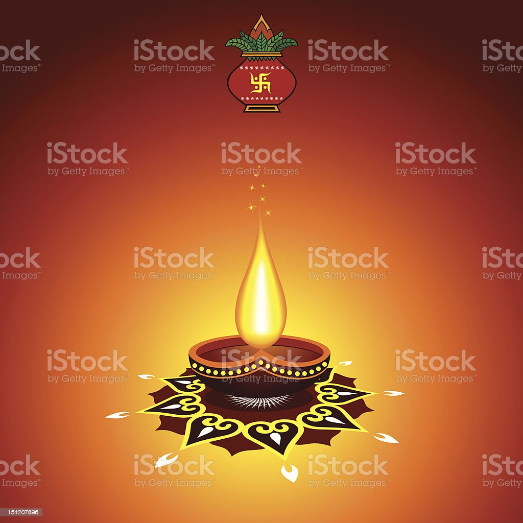 diwali greeting vector art illustration