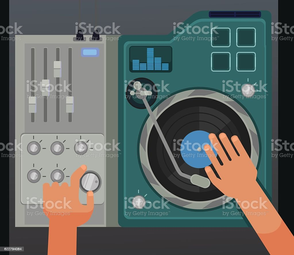 Dj controller mixer with hands. View above vector art illustration