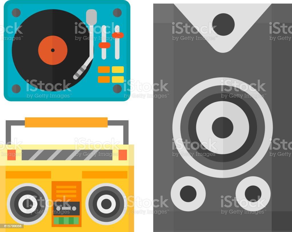 Dj music equipment icon vector art illustration