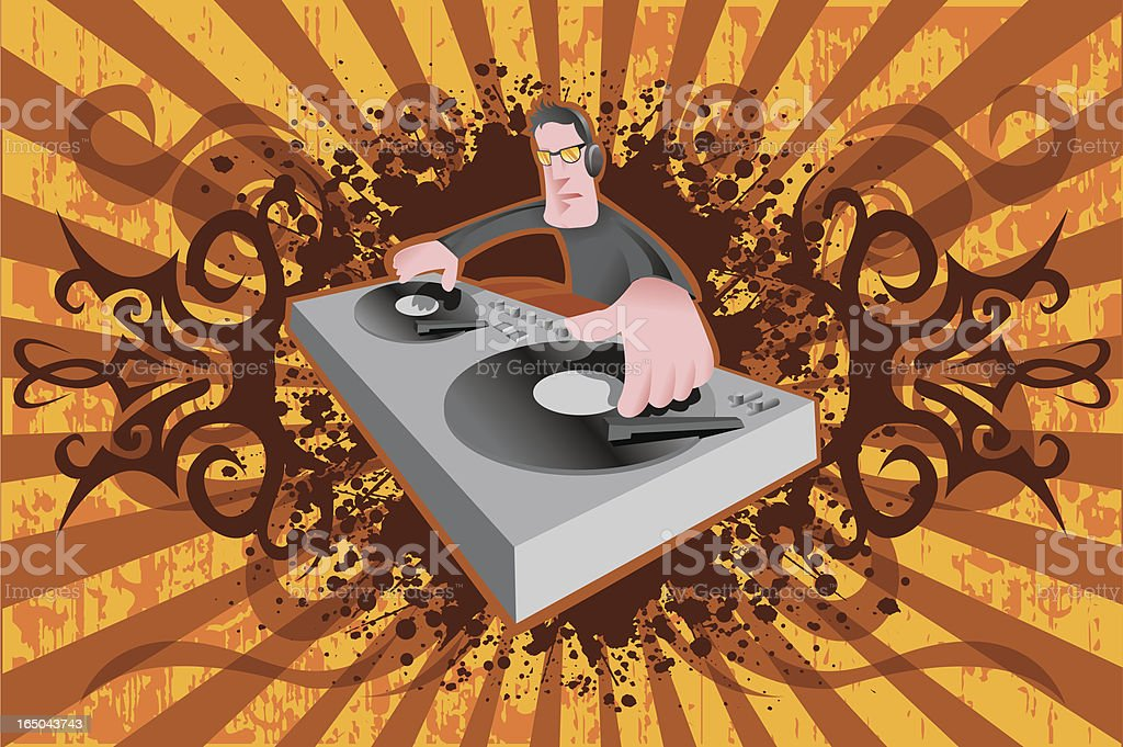 Dj with turntable royalty-free stock vector art