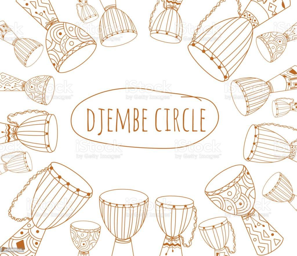 Djembe circle doodle flyer design vector art illustration