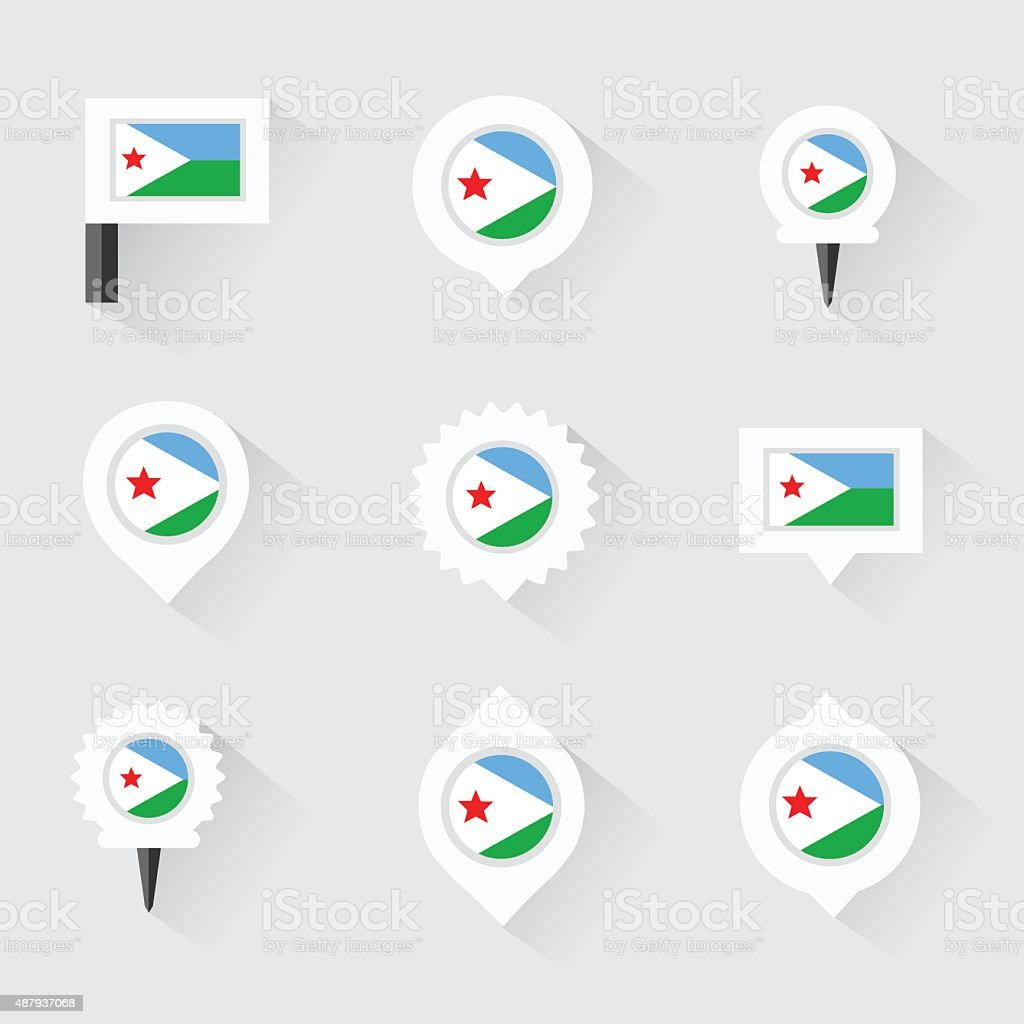 djibouti flag and pins for infographic, and map design vector art illustration