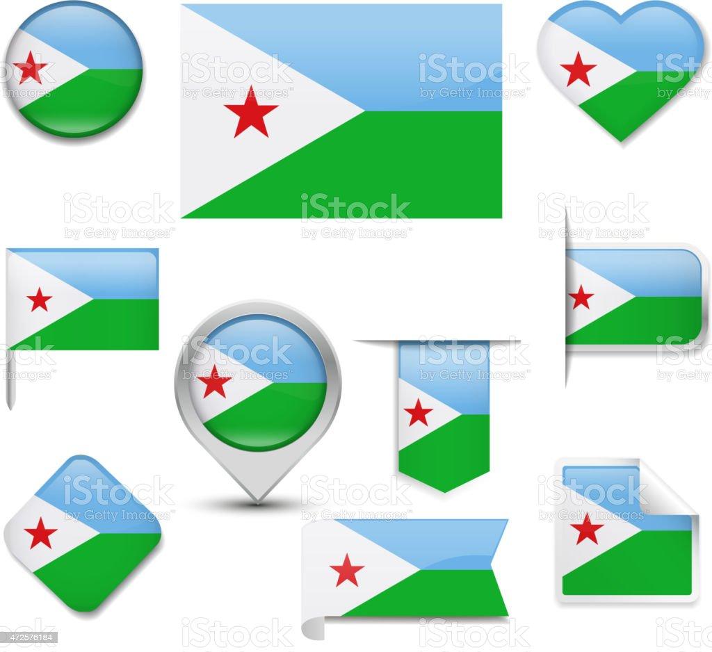 Djibouti Flag Collection vector art illustration