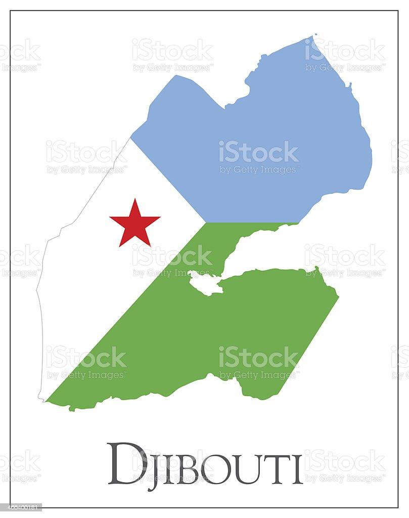 Djibouti flag map vector art illustration