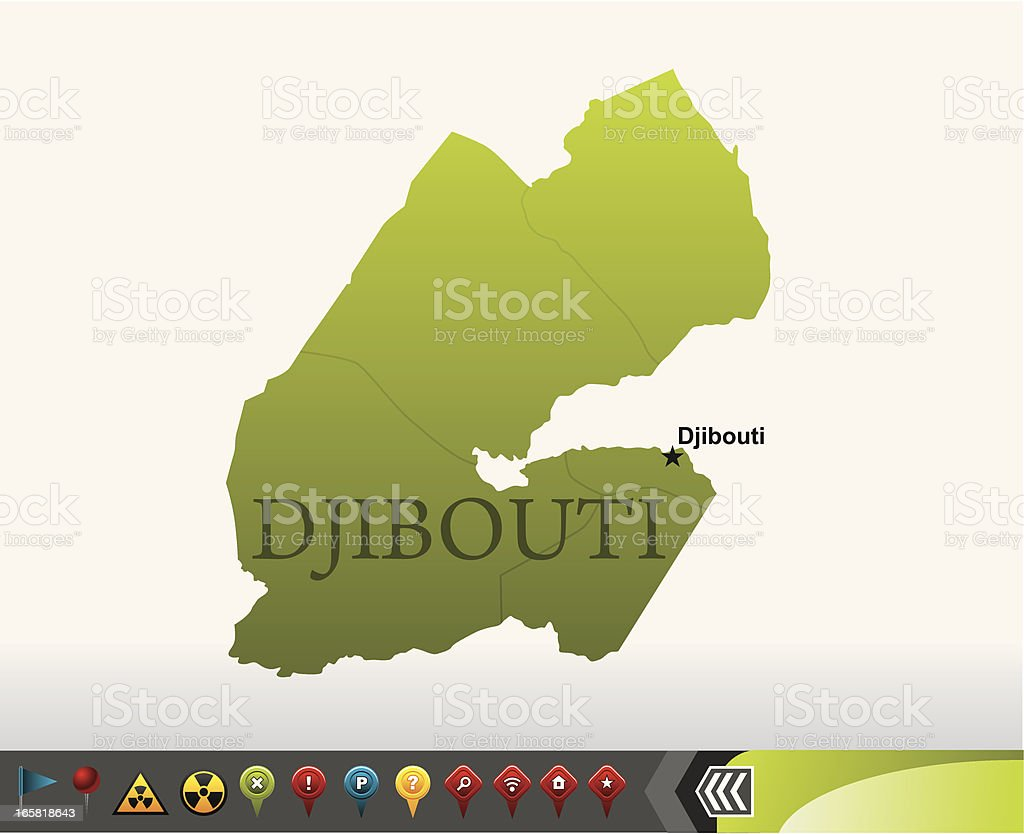 Djibouti map with navigation icons vector art illustration